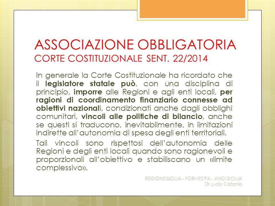 ASSOCIAZIONE OBBLIGATORIA CORTE COSTITUZIONALE SENT. 22/2014