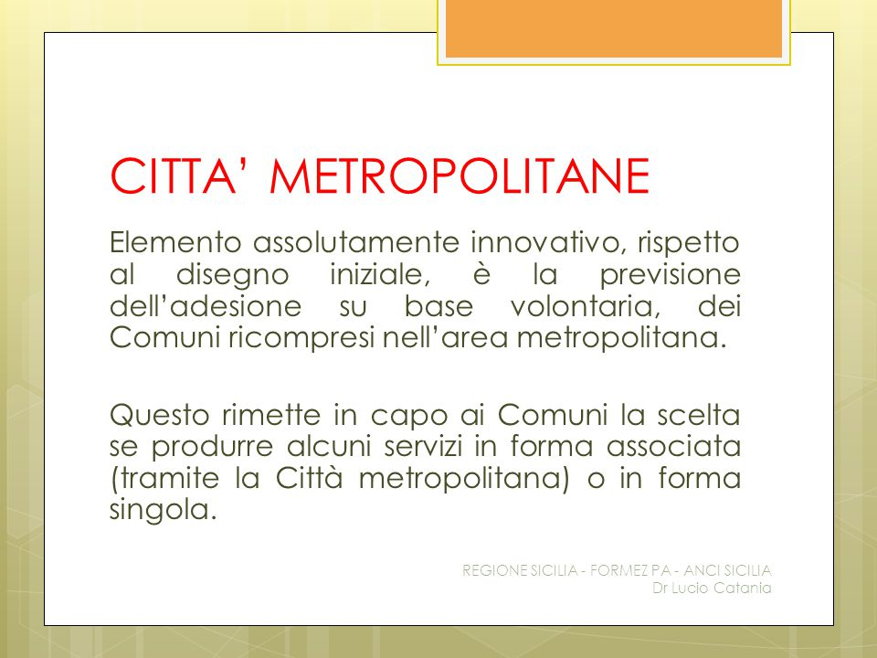 CITTA' METROPOLITANE