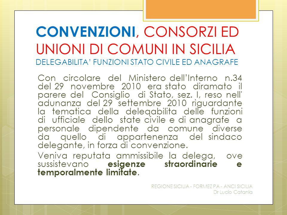 CONVENZIONI, CONSORZI ED UNIONI DI COMUNI IN SICILIA DELEGABILITA' FUNZIONI STATO CIVILE ED ANAGRAFE
