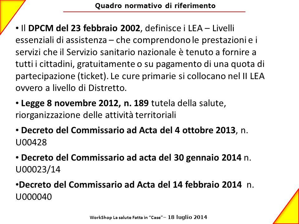 Decreto del Commissario ad Acta del 4 ottobre 2013, n. U00428
