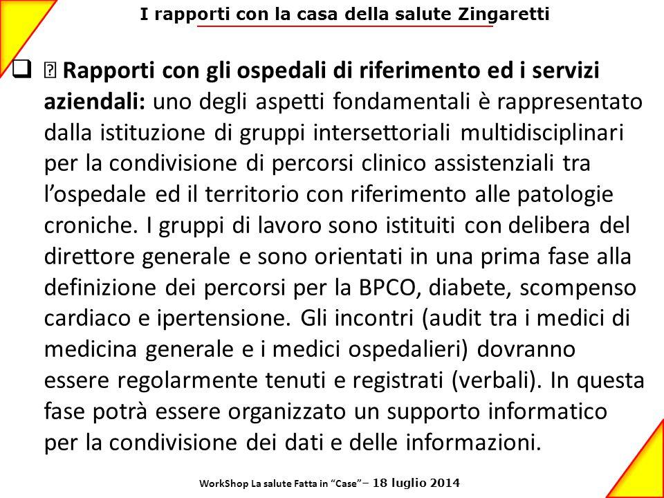 I rapporti con la casa della salute Zingaretti