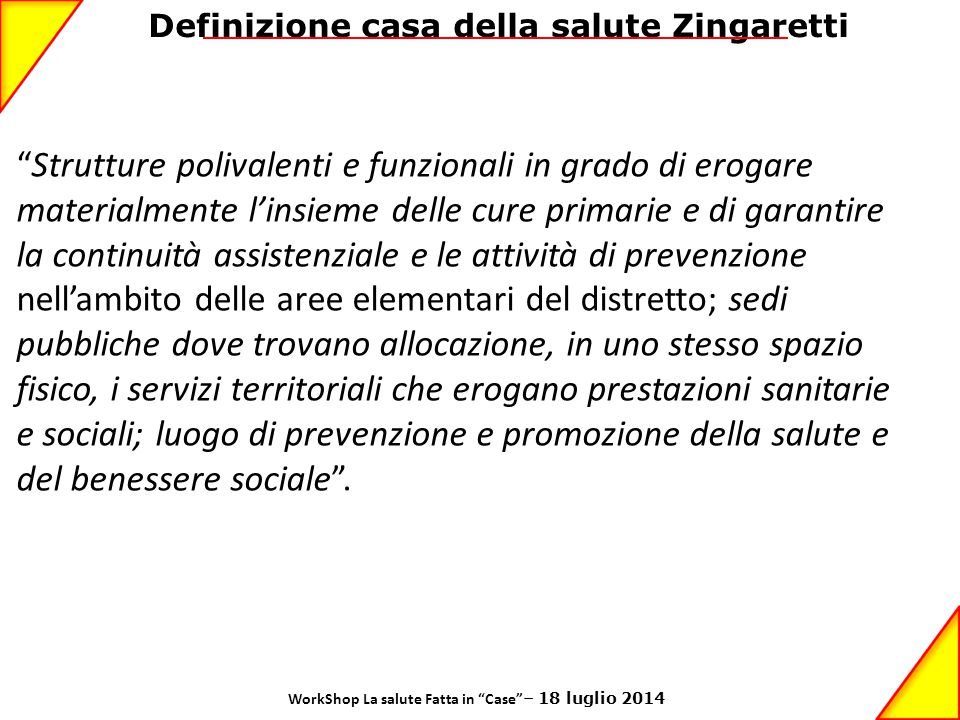 Definizione casa della salute Zingaretti