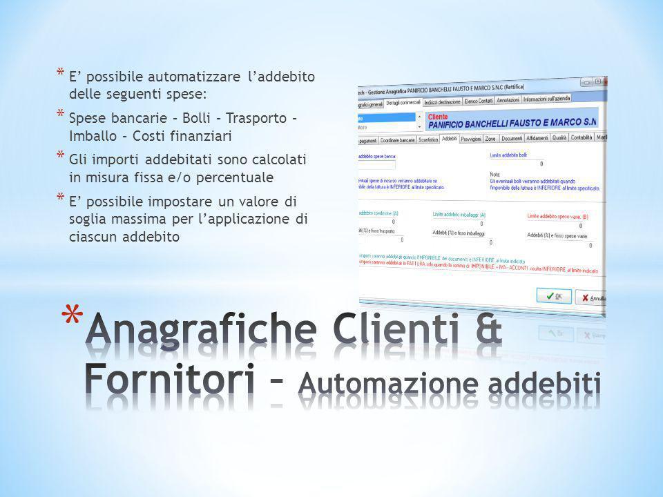 Anagrafiche Clienti & Fornitori – Automazione addebiti