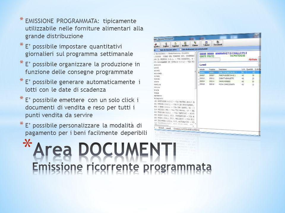 Area DOCUMENTI Emissione ricorrente programmata