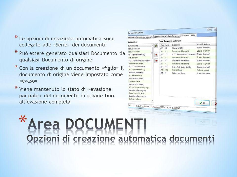 Area DOCUMENTI Opzioni di creazione automatica documenti