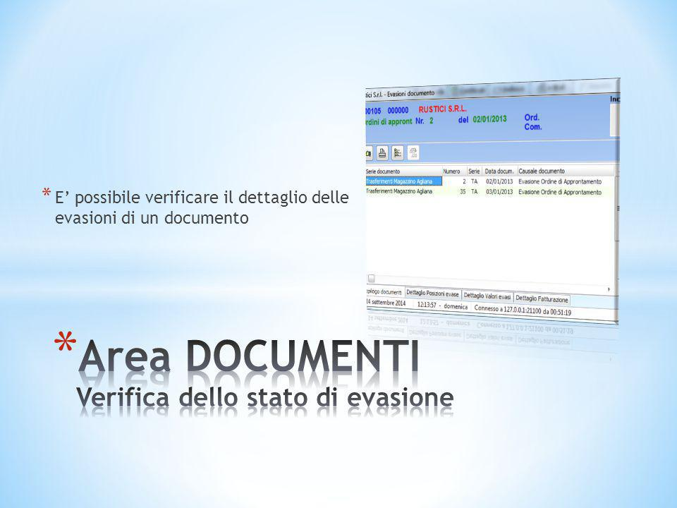Area DOCUMENTI Verifica dello stato di evasione