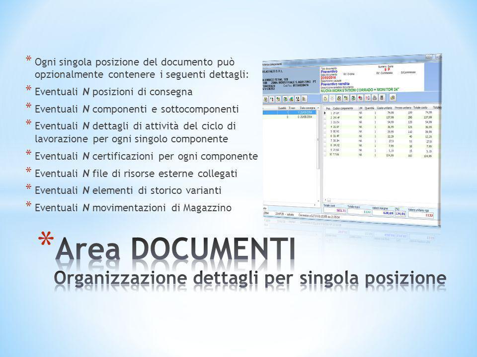 Area DOCUMENTI Organizzazione dettagli per singola posizione