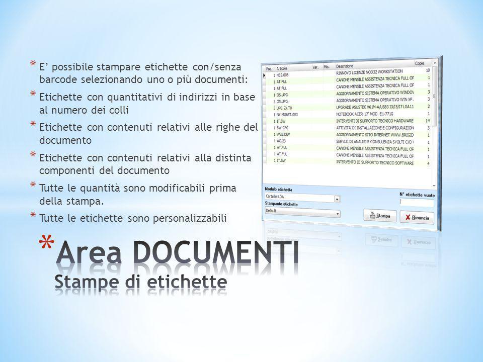 Area DOCUMENTI Stampe di etichette