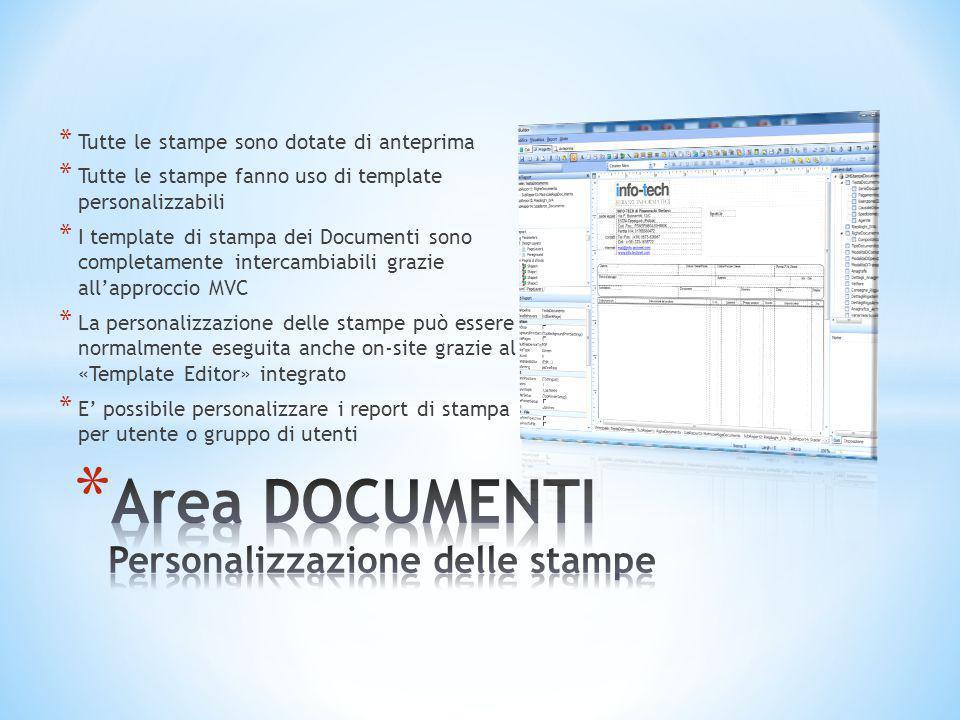 Area DOCUMENTI Personalizzazione delle stampe