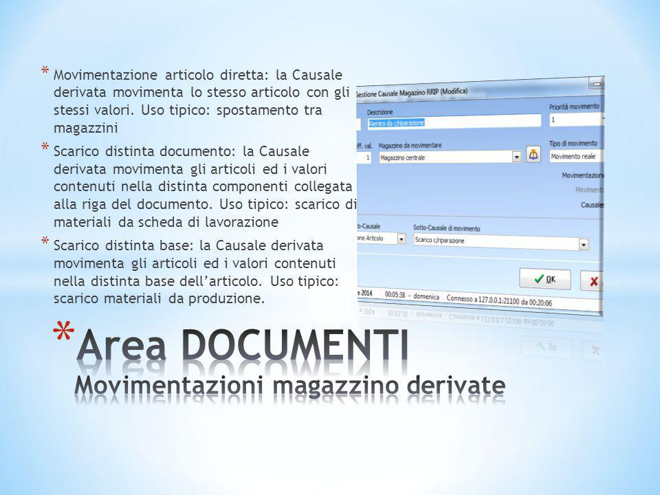 Area DOCUMENTI Movimentazioni magazzino derivate