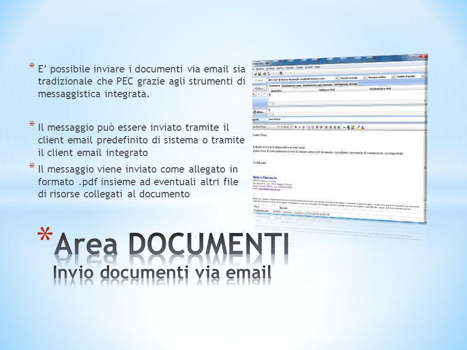 Area DOCUMENTI Invio documenti via email