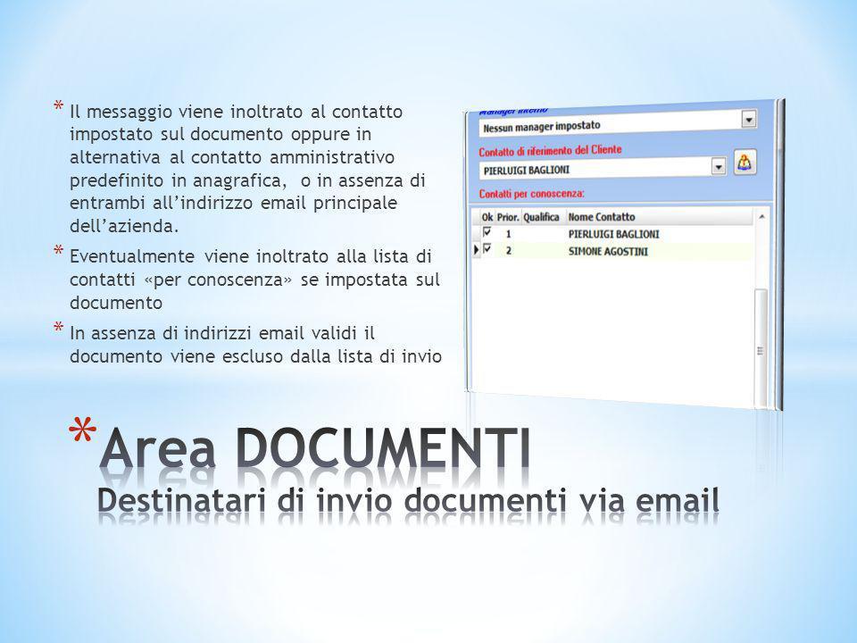 Area DOCUMENTI Destinatari di invio documenti via email