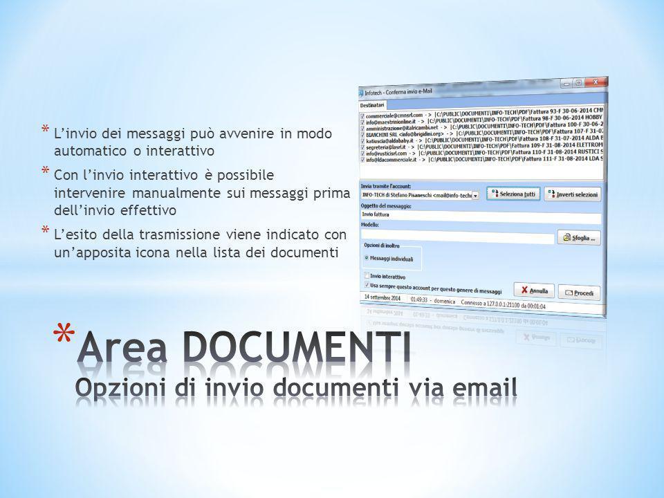 Area DOCUMENTI Opzioni di invio documenti via email