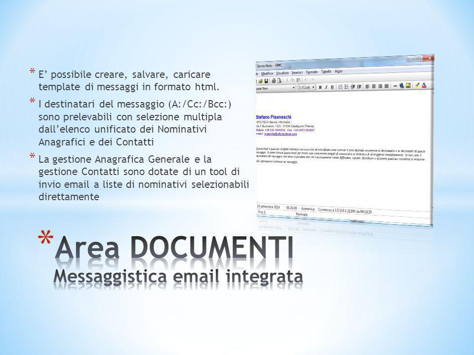 Area DOCUMENTI Messaggistica email integrata