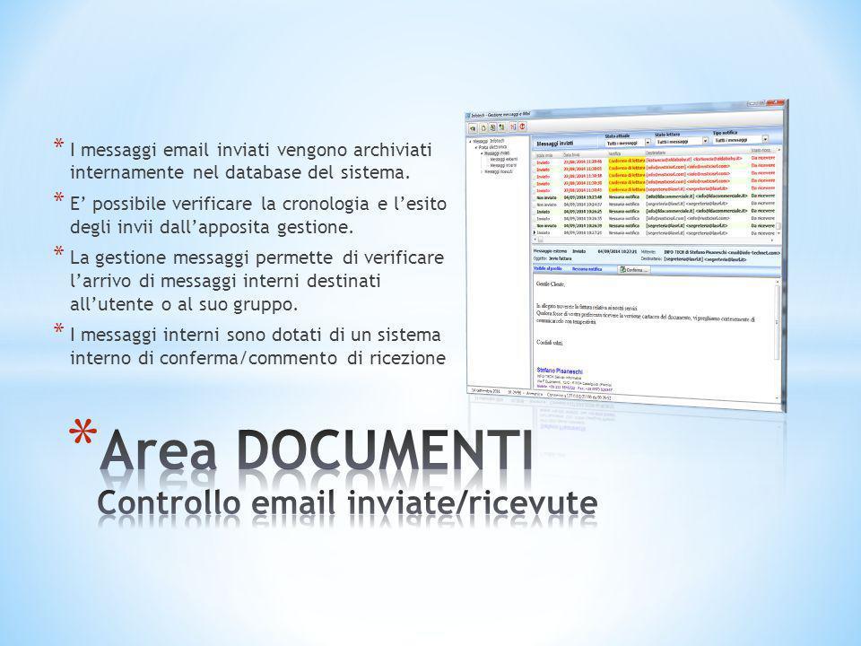 Area DOCUMENTI Controllo email inviate/ricevute