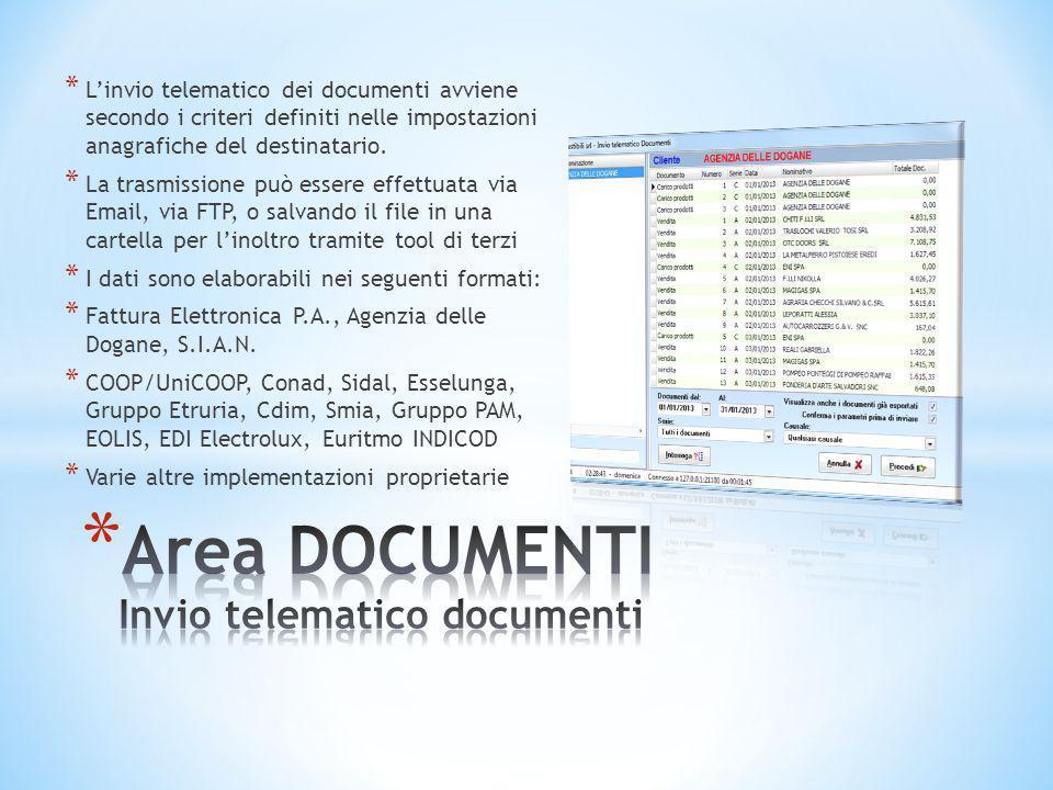 Area DOCUMENTI Invio telematico documenti