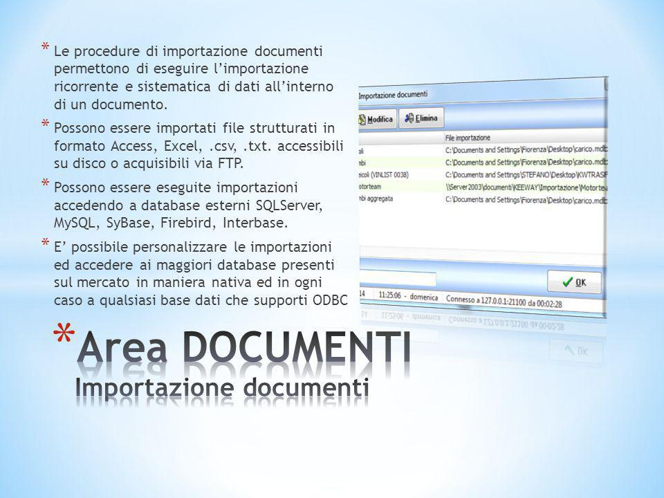 Area DOCUMENTI Importazione documenti