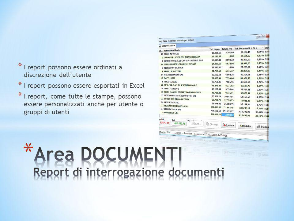 Area DOCUMENTI Report di interrogazione documenti