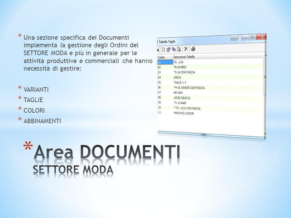 Area DOCUMENTI SETTORE MODA