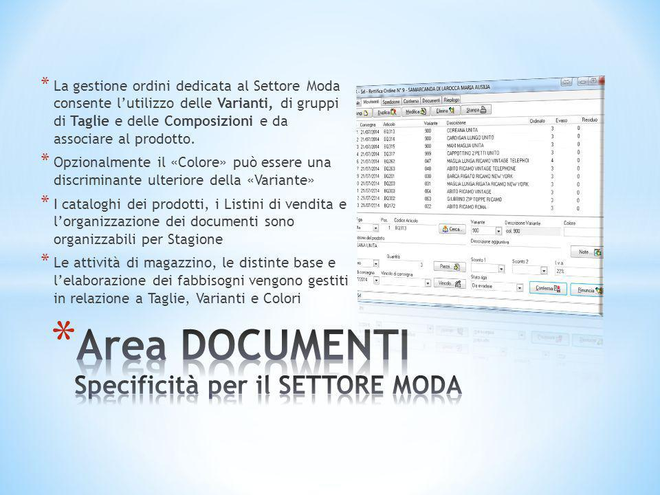 Area DOCUMENTI Specificità per il SETTORE MODA