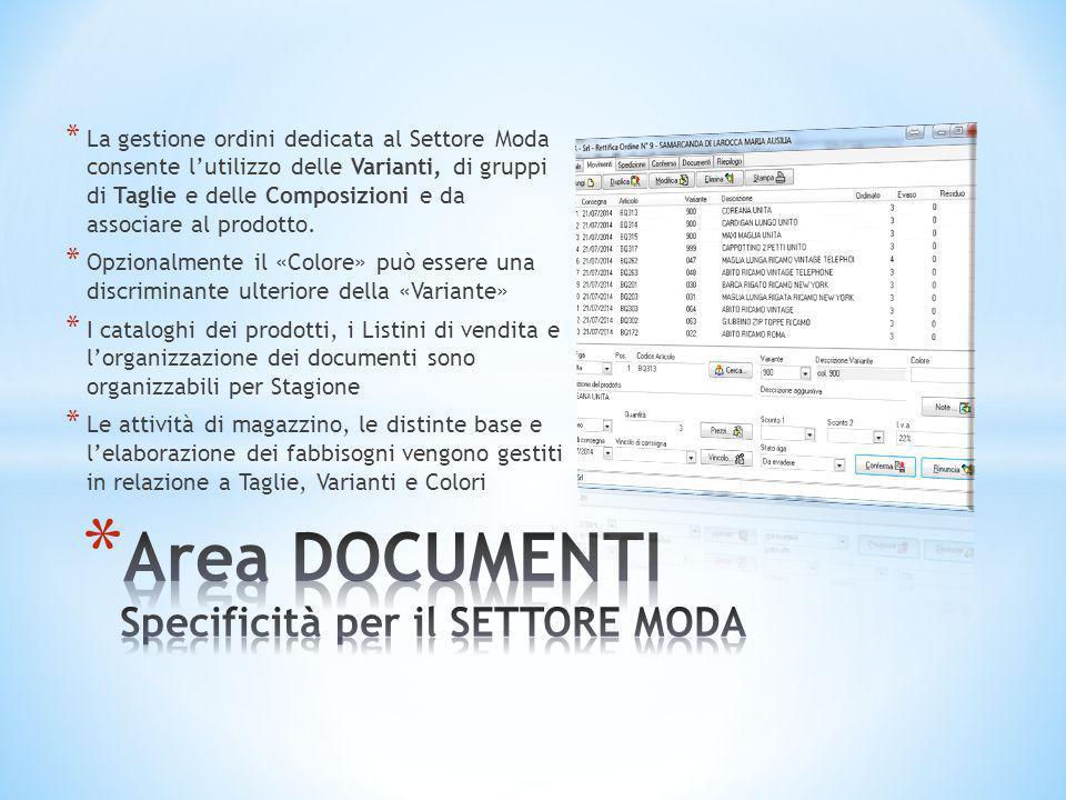 Area DOCUMENTI Specificità per il SETTORE MODA