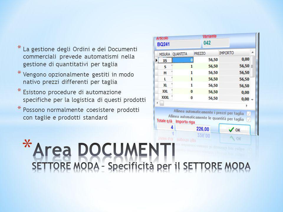 Area DOCUMENTI SETTORE MODA – Specificità per il SETTORE MODA