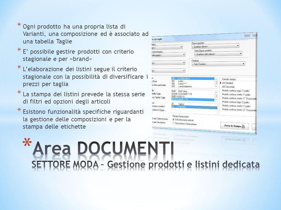 Area DOCUMENTI SETTORE MODA – Gestione prodotti e listini dedicata