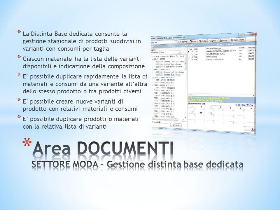 Area DOCUMENTI SETTORE MODA – Gestione distinta base dedicata