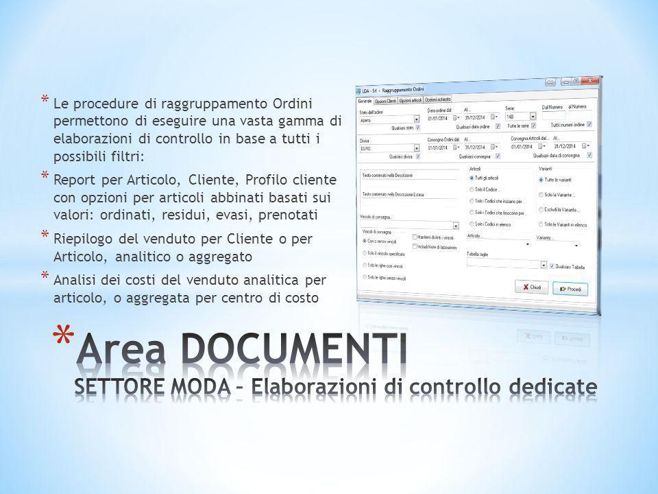 Area DOCUMENTI SETTORE MODA – Elaborazioni di controllo dedicate