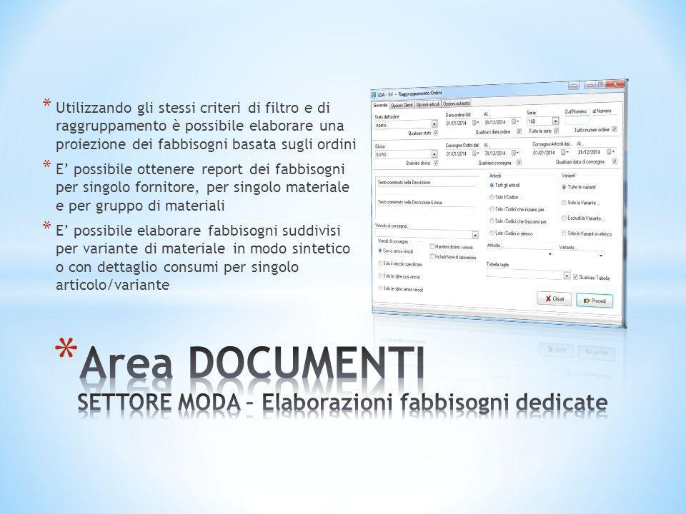 Area DOCUMENTI SETTORE MODA – Elaborazioni fabbisogni dedicate