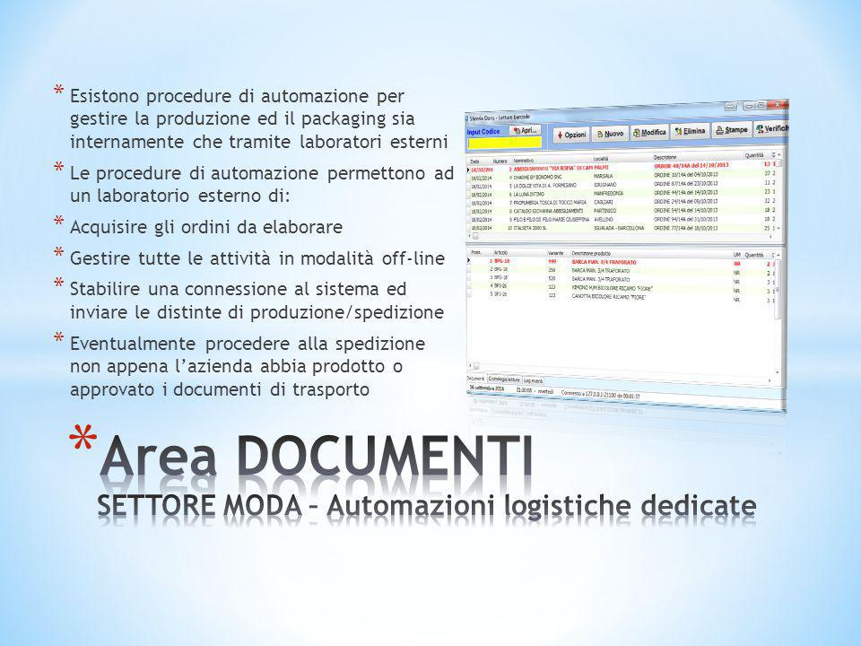 Area DOCUMENTI SETTORE MODA – Automazioni logistiche dedicate