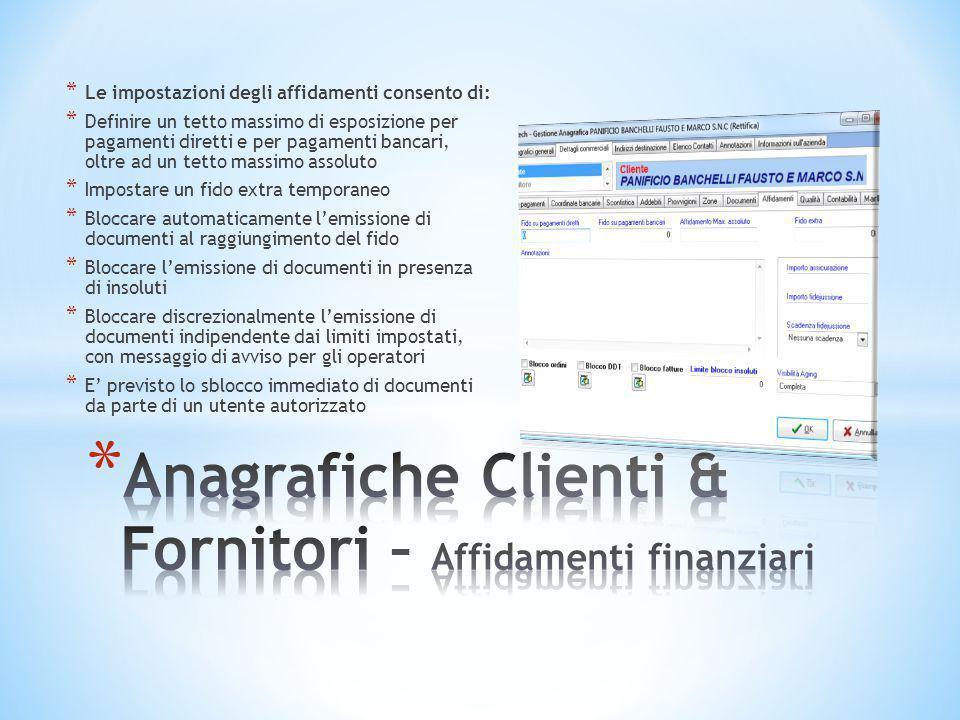 Anagrafiche Clienti & Fornitori – Affidamenti finanziari