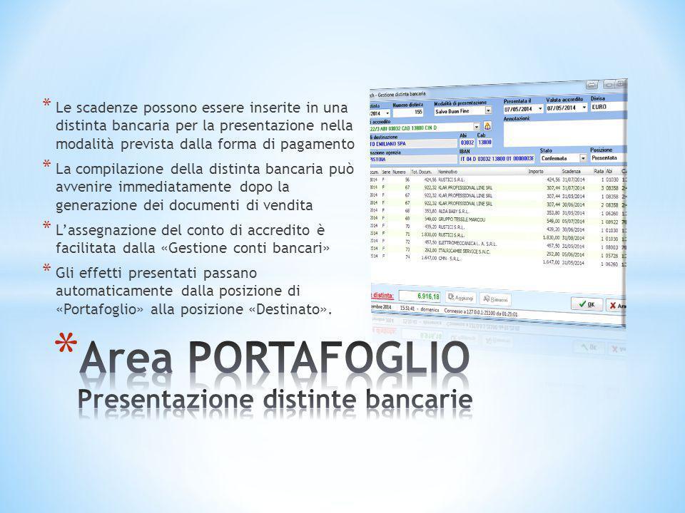 Area PORTAFOGLIO Presentazione distinte bancarie