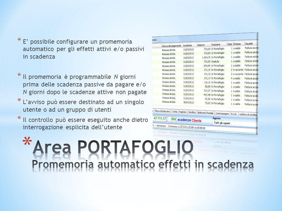 Area PORTAFOGLIO Promemoria automatico effetti in scadenza