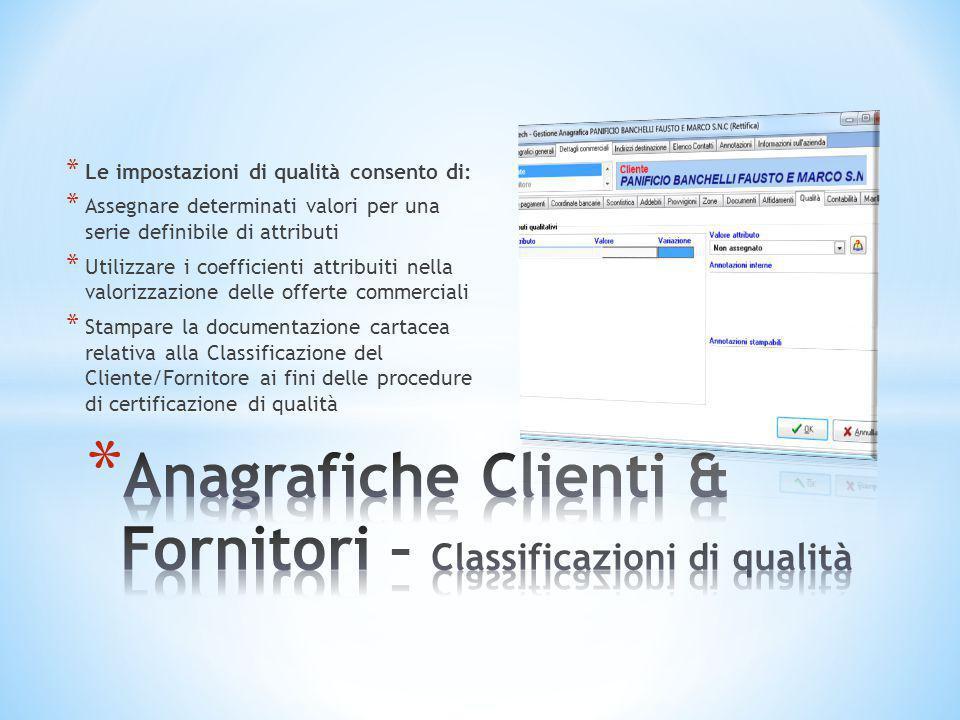 Anagrafiche Clienti & Fornitori – Classificazioni di qualità