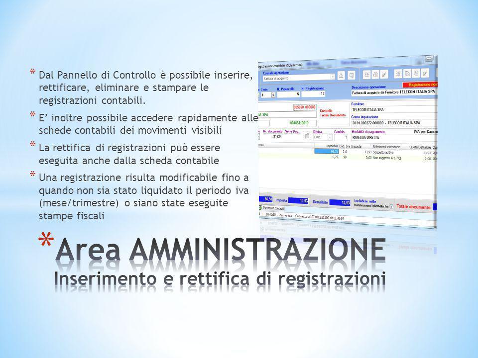 Area AMMINISTRAZIONE Inserimento e rettifica di registrazioni