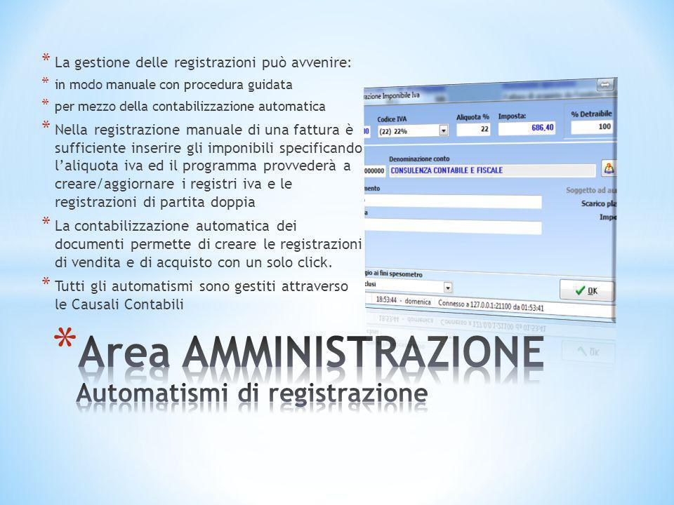 Area AMMINISTRAZIONE Automatismi di registrazione