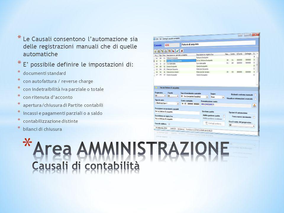 Area AMMINISTRAZIONE Causali di contabilità