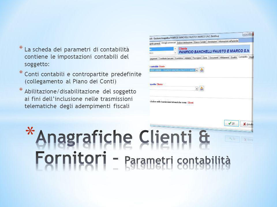 Anagrafiche Clienti & Fornitori – Parametri contabilità