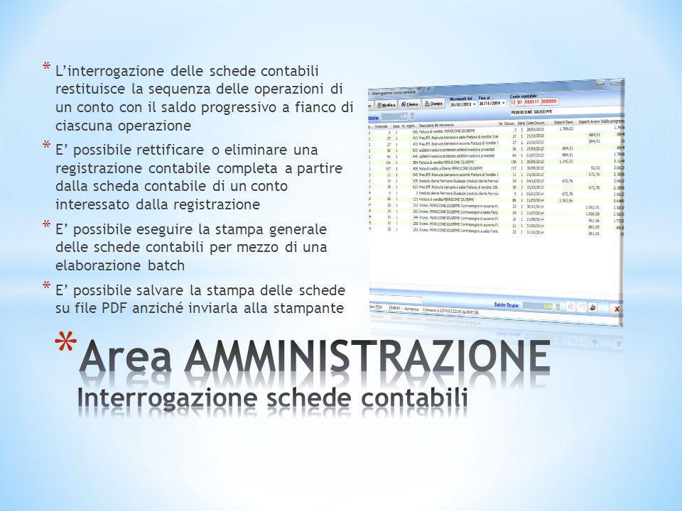Area AMMINISTRAZIONE Interrogazione schede contabili