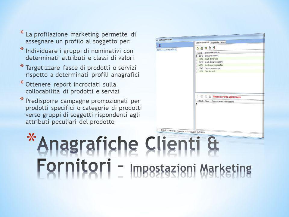 Anagrafiche Clienti & Fornitori – Impostazioni Marketing
