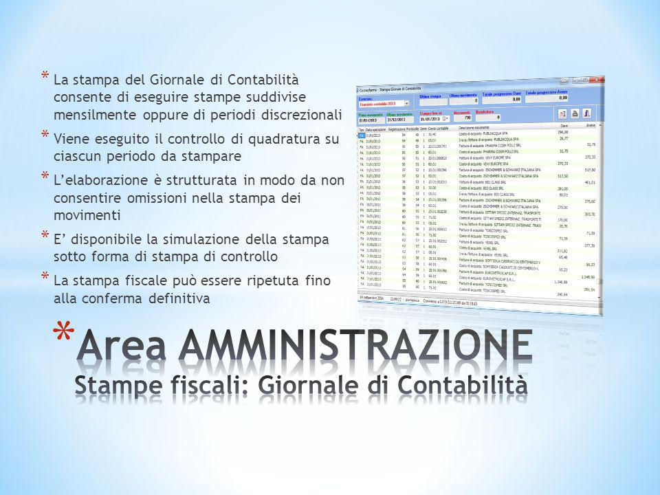 Area AMMINISTRAZIONE Stampe fiscali: Giornale di Contabilità