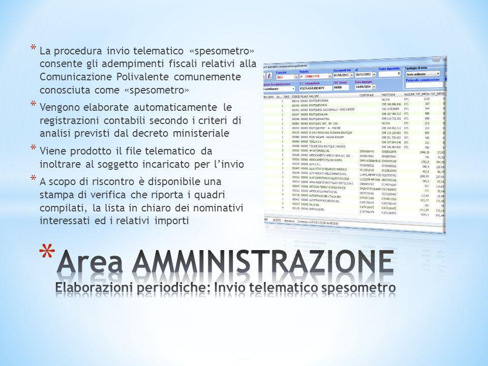 La procedura invio telematico «spesometro» consente gli adempimenti fiscali relativi alla Comunicazione Polivalente comunemente conosciuta come «spesometro»