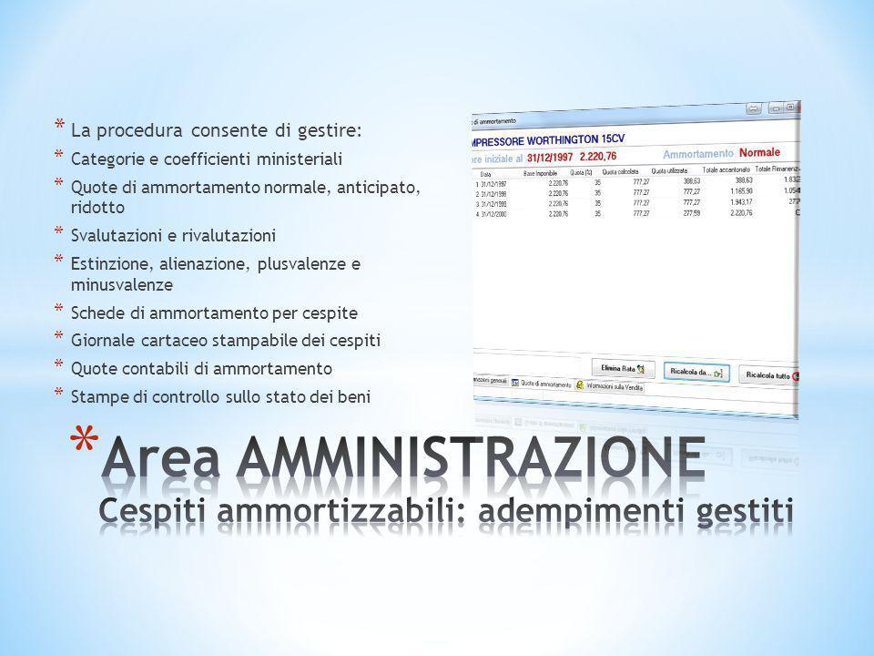 Area AMMINISTRAZIONE Cespiti ammortizzabili: adempimenti gestiti