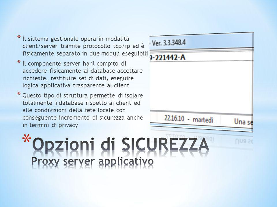 Opzioni di SICUREZZA Proxy server applicativo
