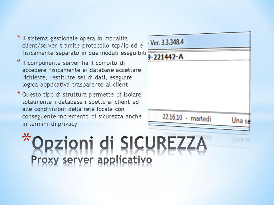 Opzioni di SICUREZZA Proxy server applicativo