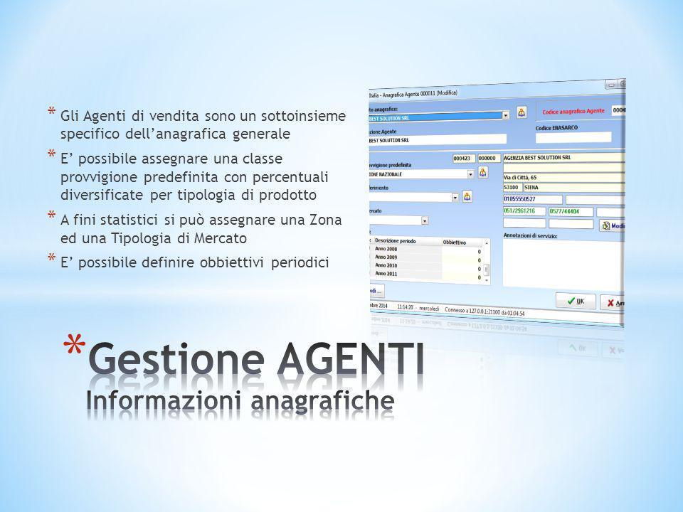 Gestione AGENTI Informazioni anagrafiche