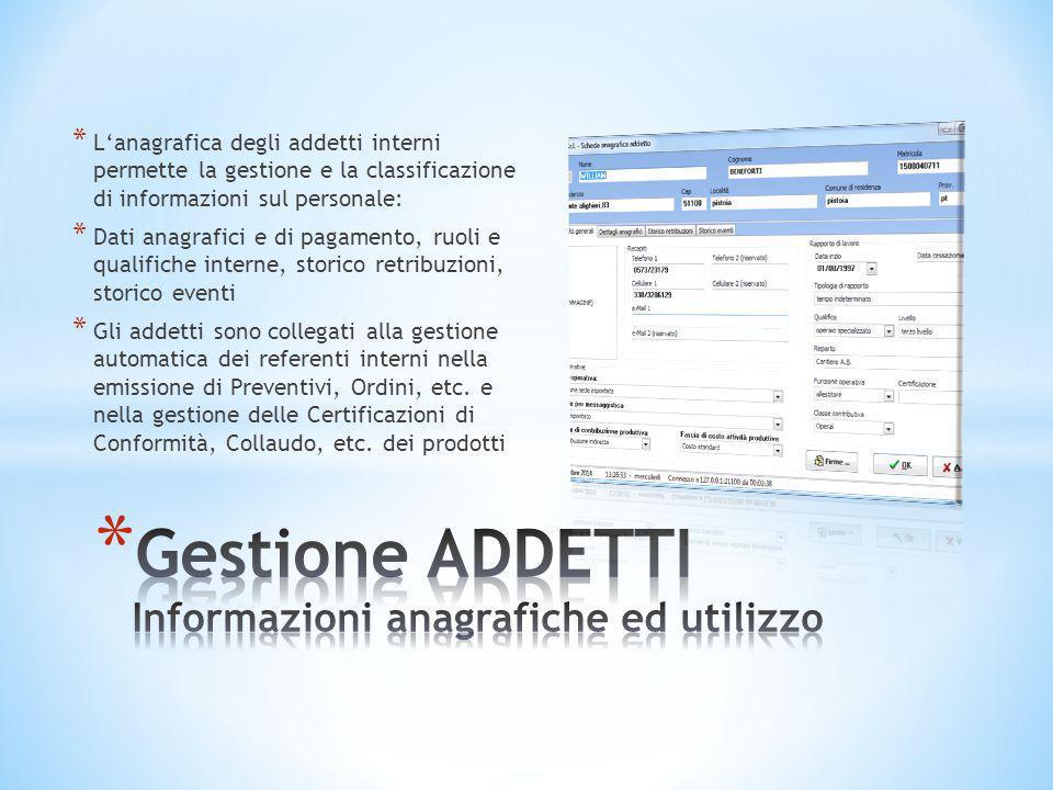 Gestione ADDETTI Informazioni anagrafiche ed utilizzo