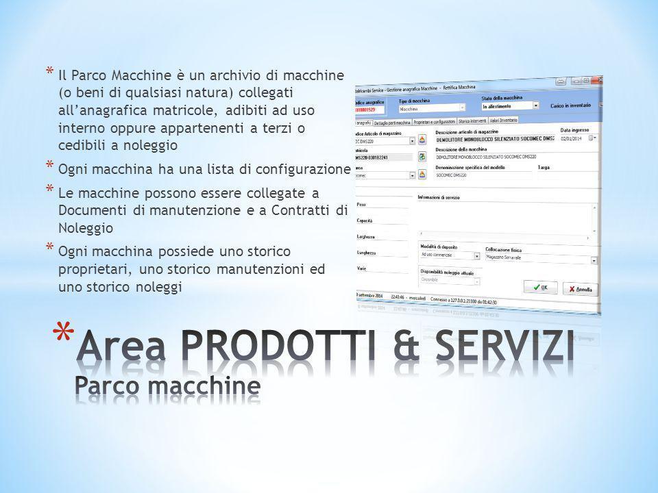 Area PRODOTTI & SERVIZI Parco macchine