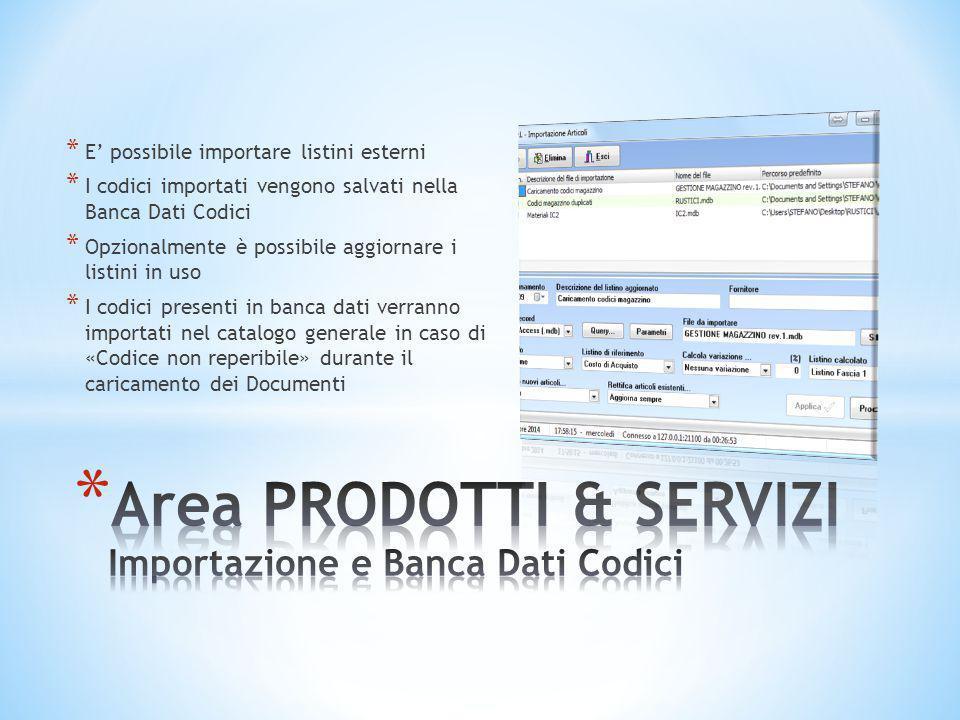 Area PRODOTTI & SERVIZI Importazione e Banca Dati Codici